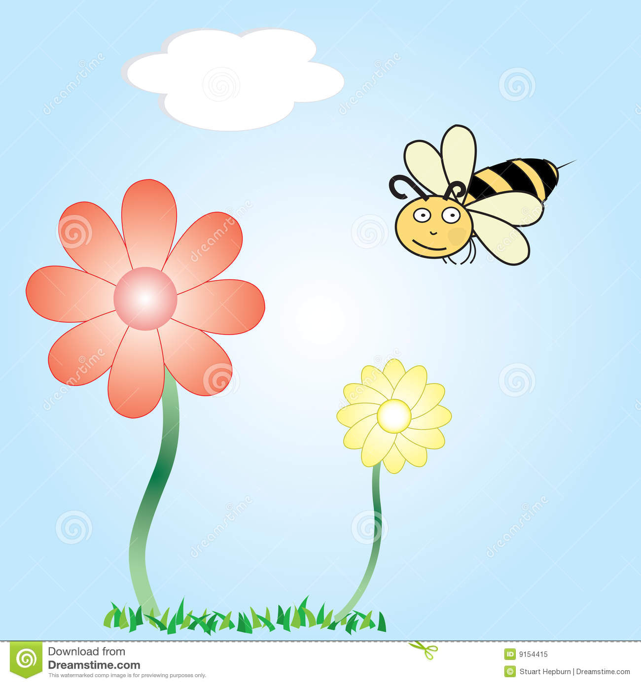 Cartoon Vector Of A Bee And Flowers Royalty Free Stock ...