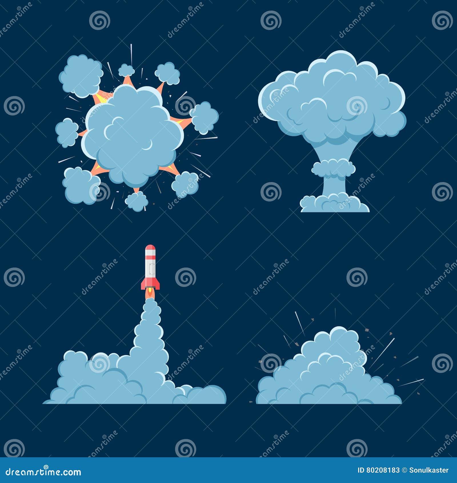 Cartoon Vector Bomb Explosion With Smoke  Stock Vector