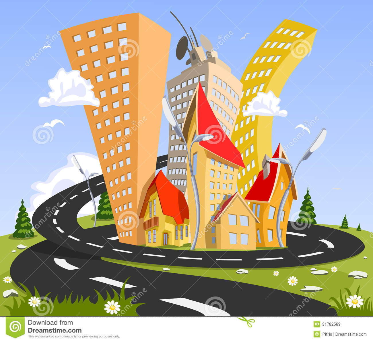 ... Vector City - Summer Royalty Free Stock Images - Image: 31782589