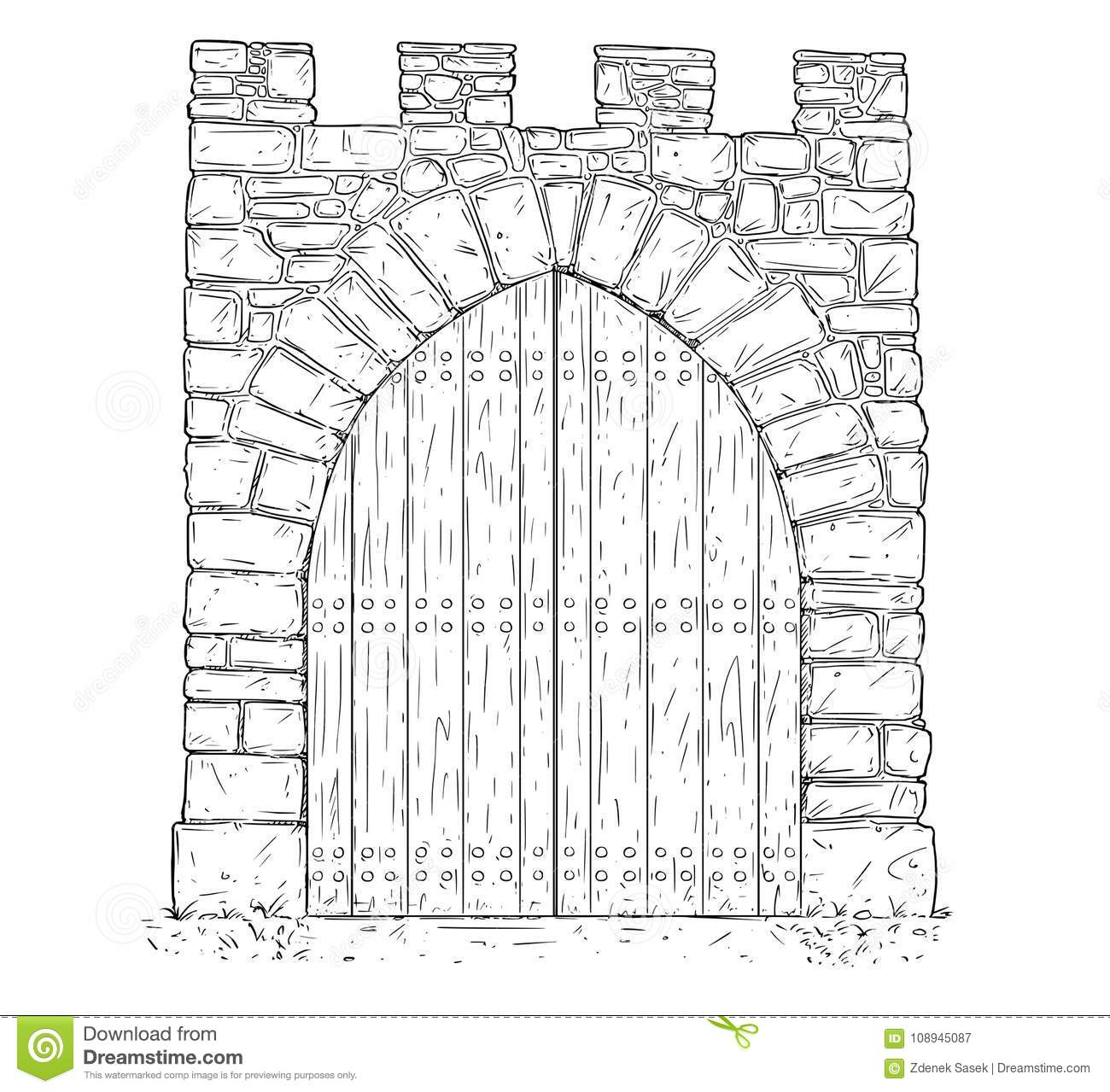 closed door drawing. Cartoon Vector Of Stone Medieval Decision Gate Closed By Wooden Door Drawing 9
