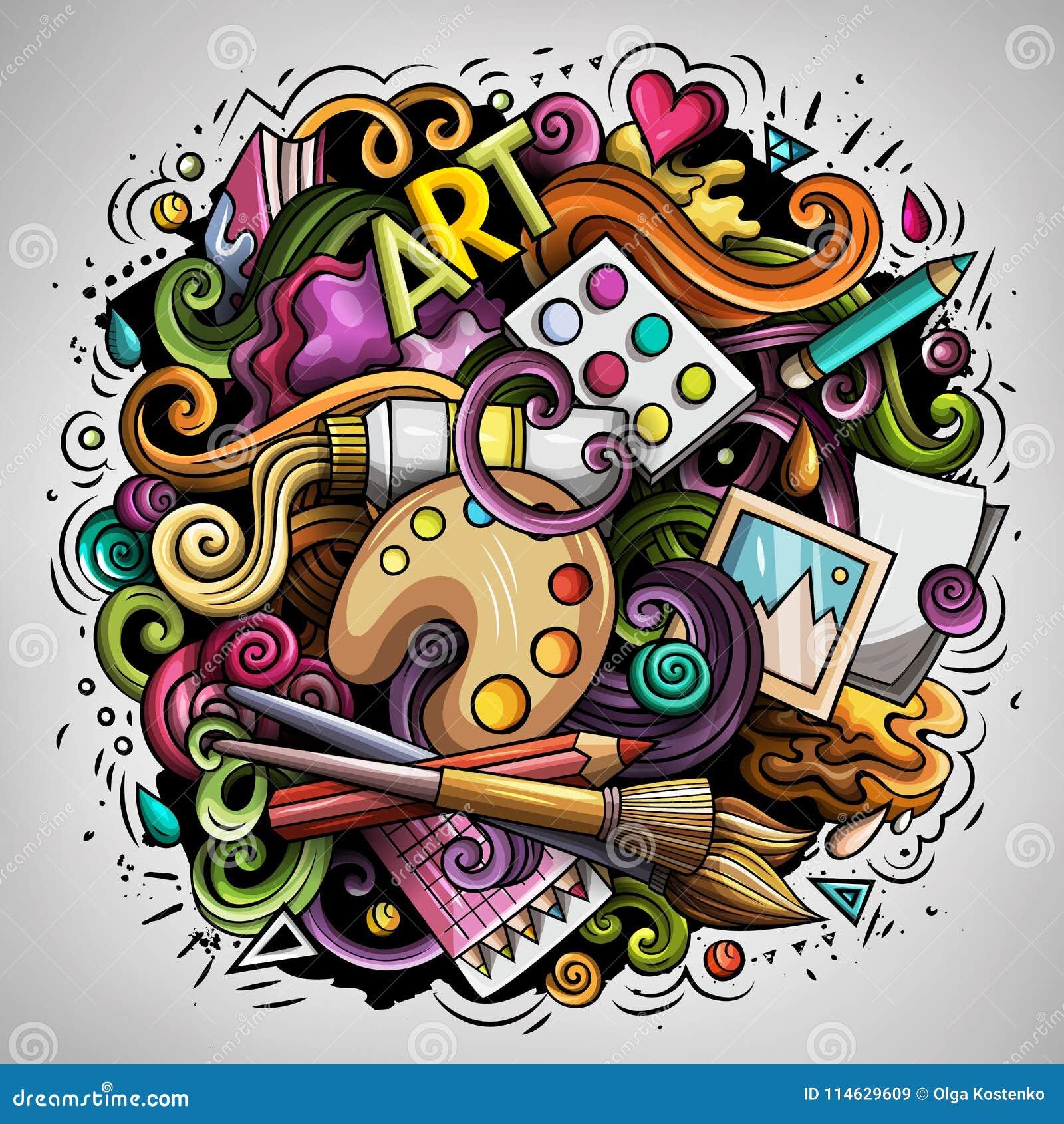 Cartoon Vector Doodles Art And Design Illustration Stock Vector Illustration Of Doodles Objects 114629609