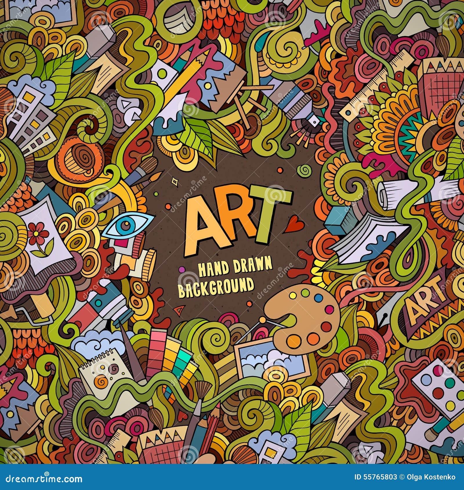 Cartoon Vector Doodles Hand Drawn Art And Craft
