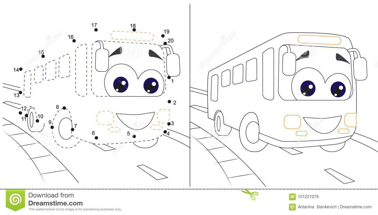 Bus Numbers Game For Children Dot To Dot Educational Kid