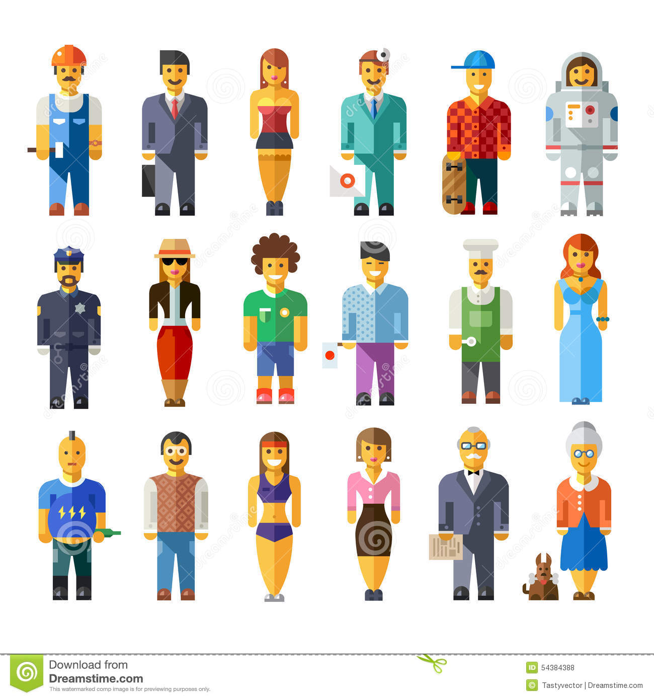 Cartoon Characters Vector : Cartoon characters of different professions vector