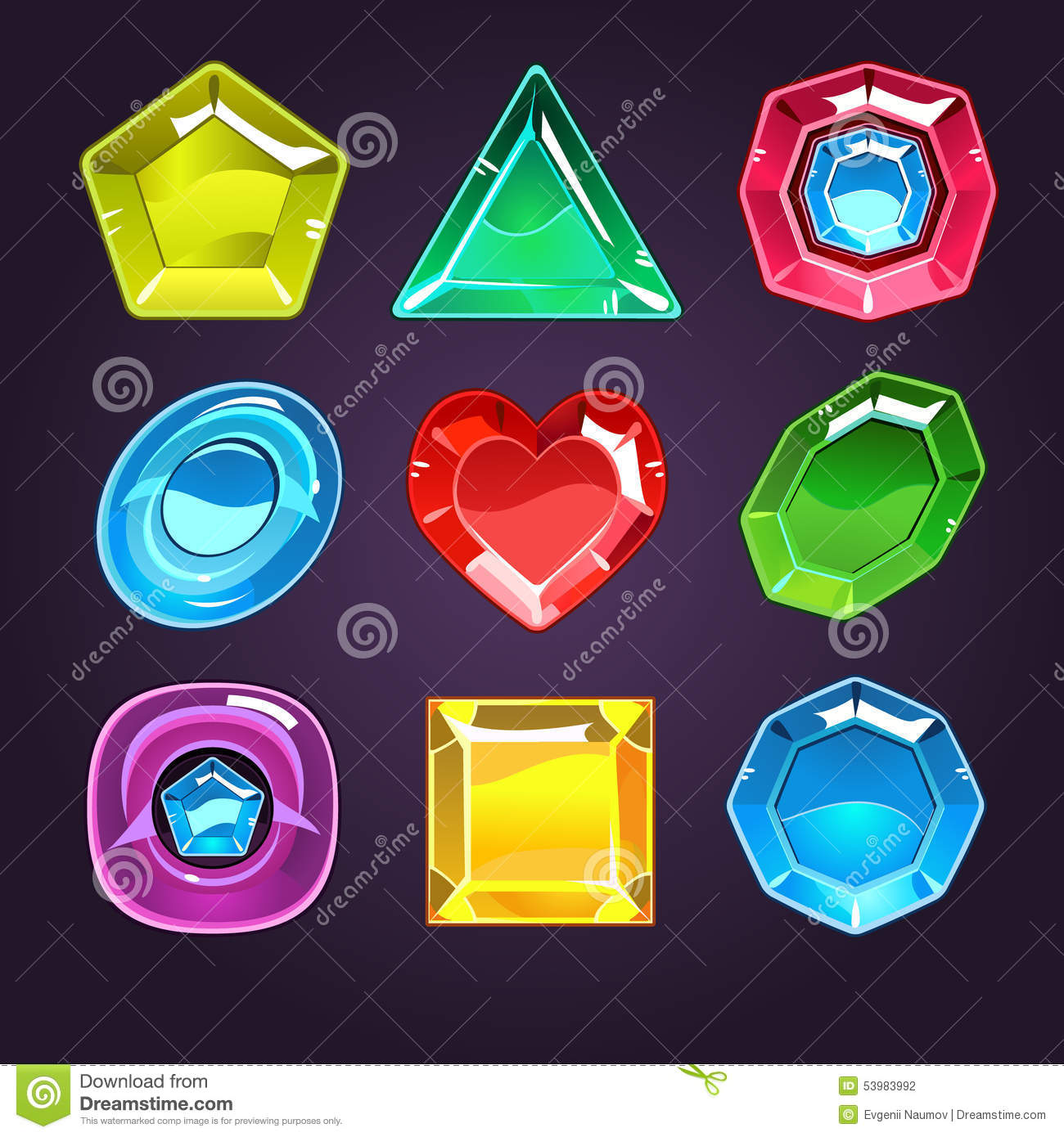 Cartoon Colored Marbles : Cartoon vector gems and diamonds icons set stock