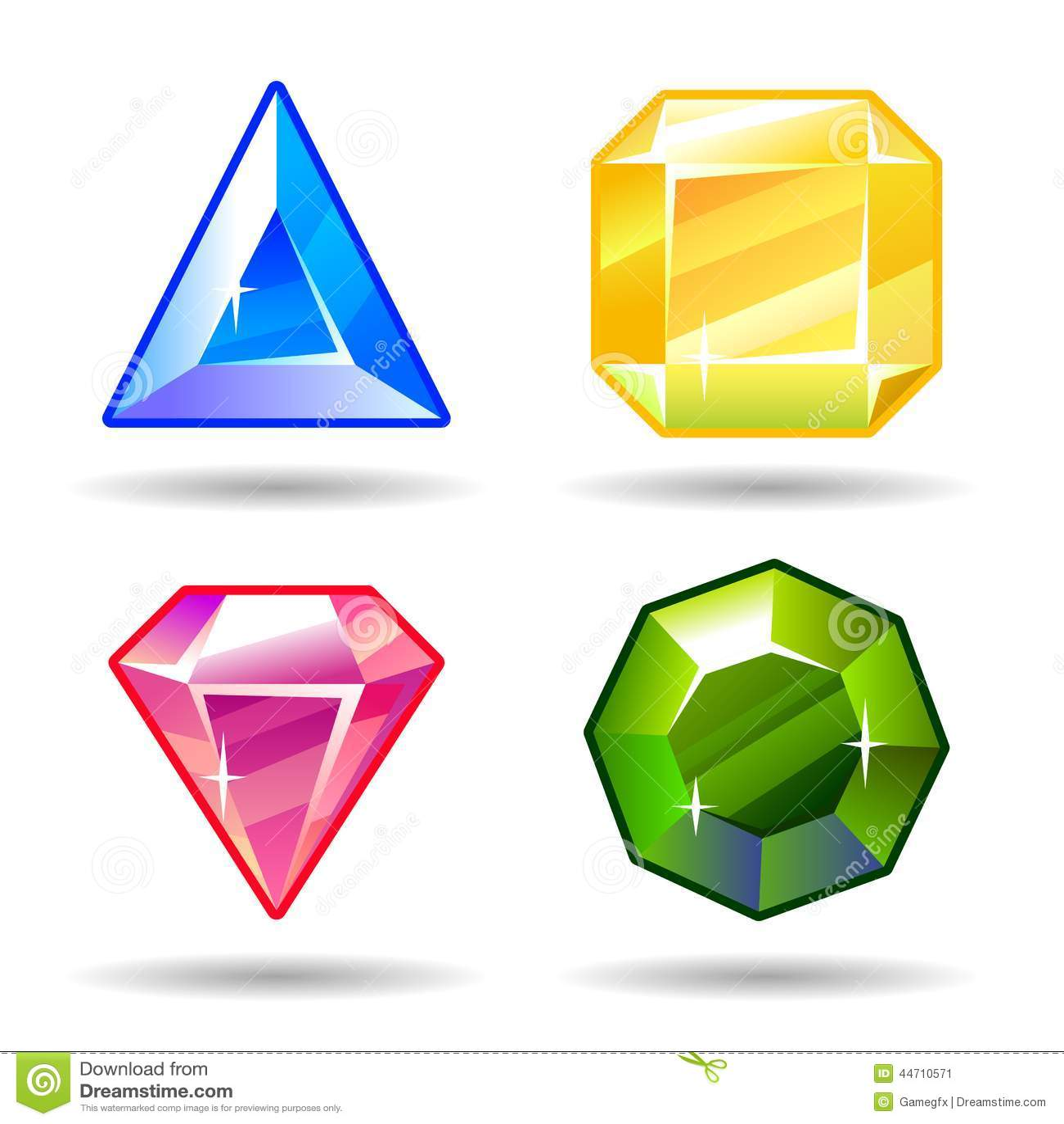 Cartoon Vector Gems And Diamonds Icons Set Stock Vector - Illustration of symbol, shiny: 44710571