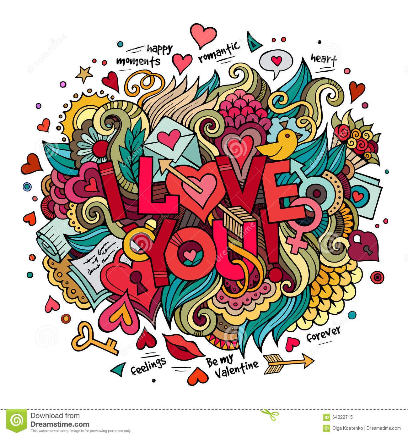 Cartoon vector hand drawn doodle love illustration stock vector
