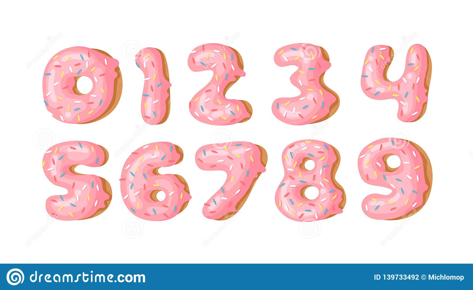 Cartoon vector illustration donut. Hand drawn set of numbers with sweet bun. Actual Creative art work bake