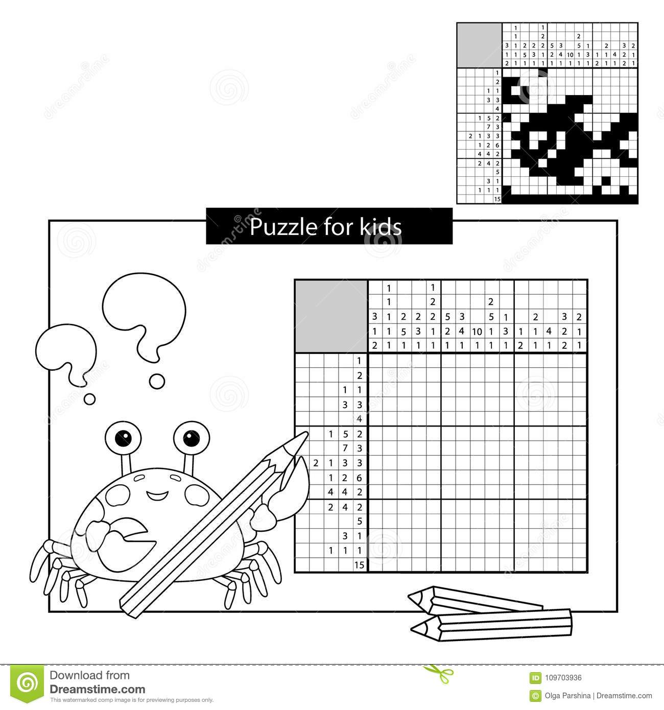 image regarding Printable Nonograms identify Instruction Puzzle Activity For Higher education Small children. Fish. Black And