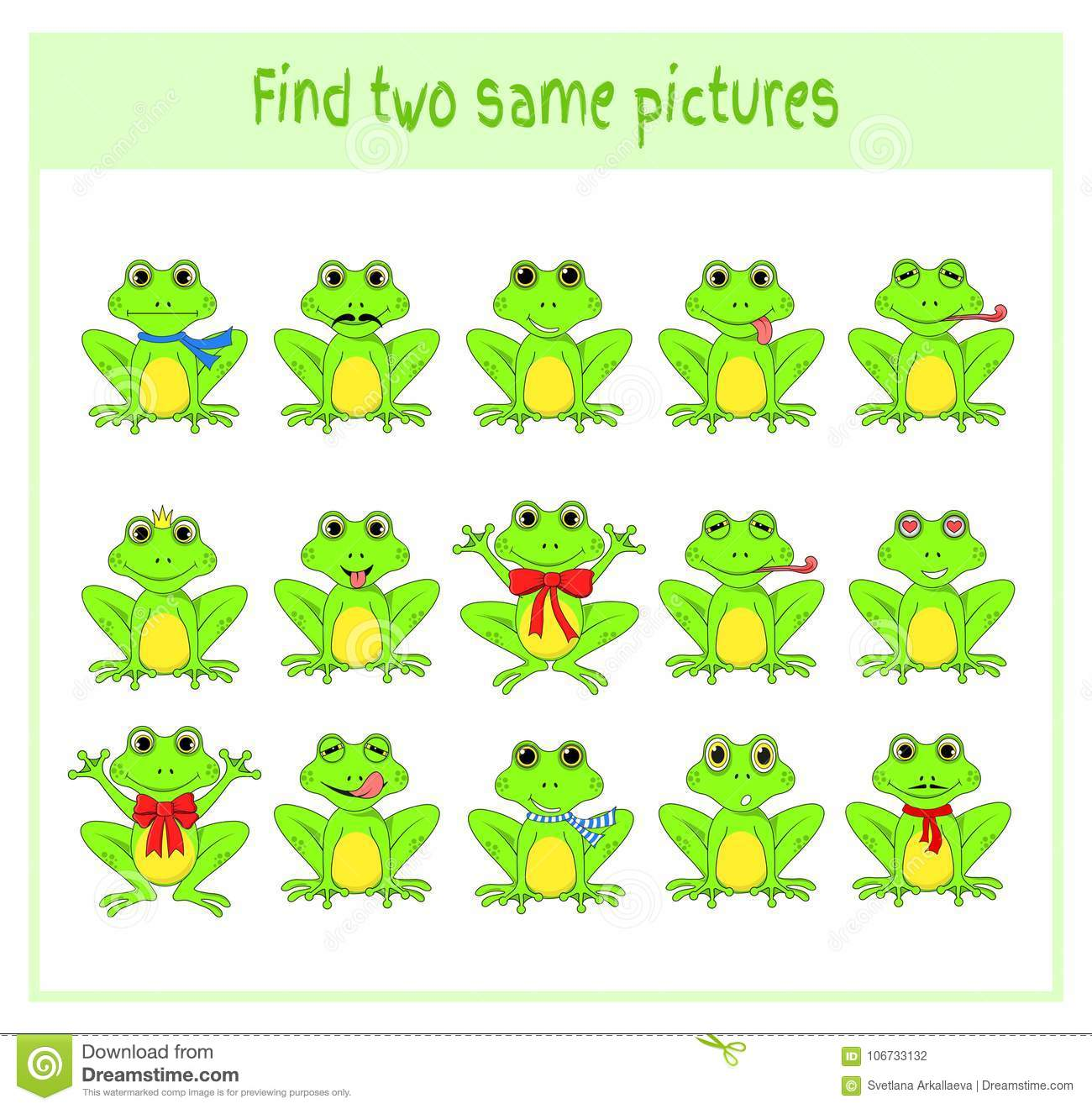 Cartoon Vector Illustration Of Finding Two Exactly The Same Pictures ...