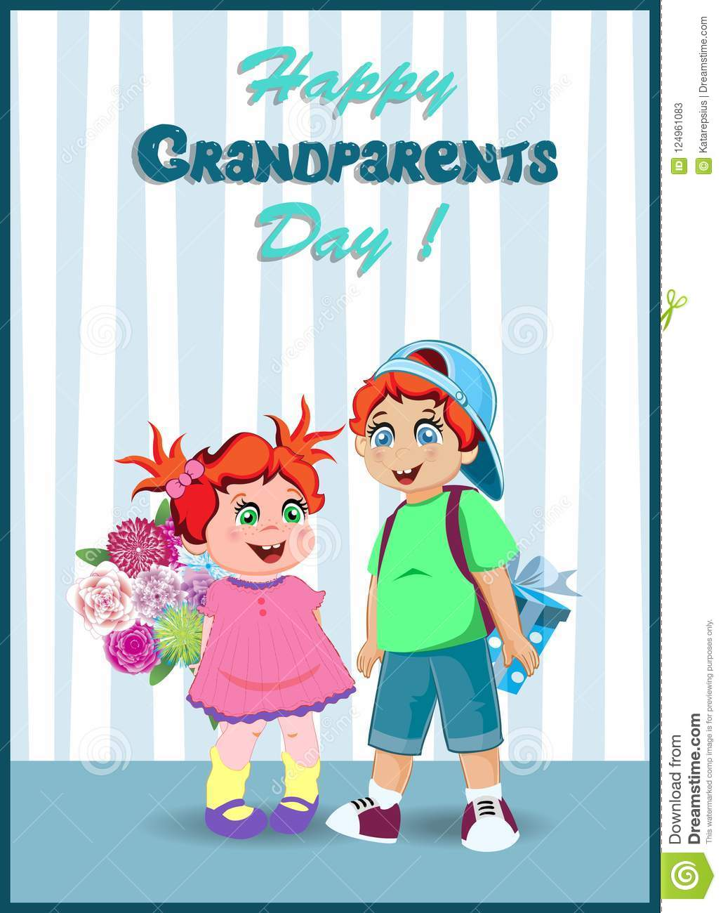 Cartoon Vector Illustration Of Grandchildren With Flowers And Gift