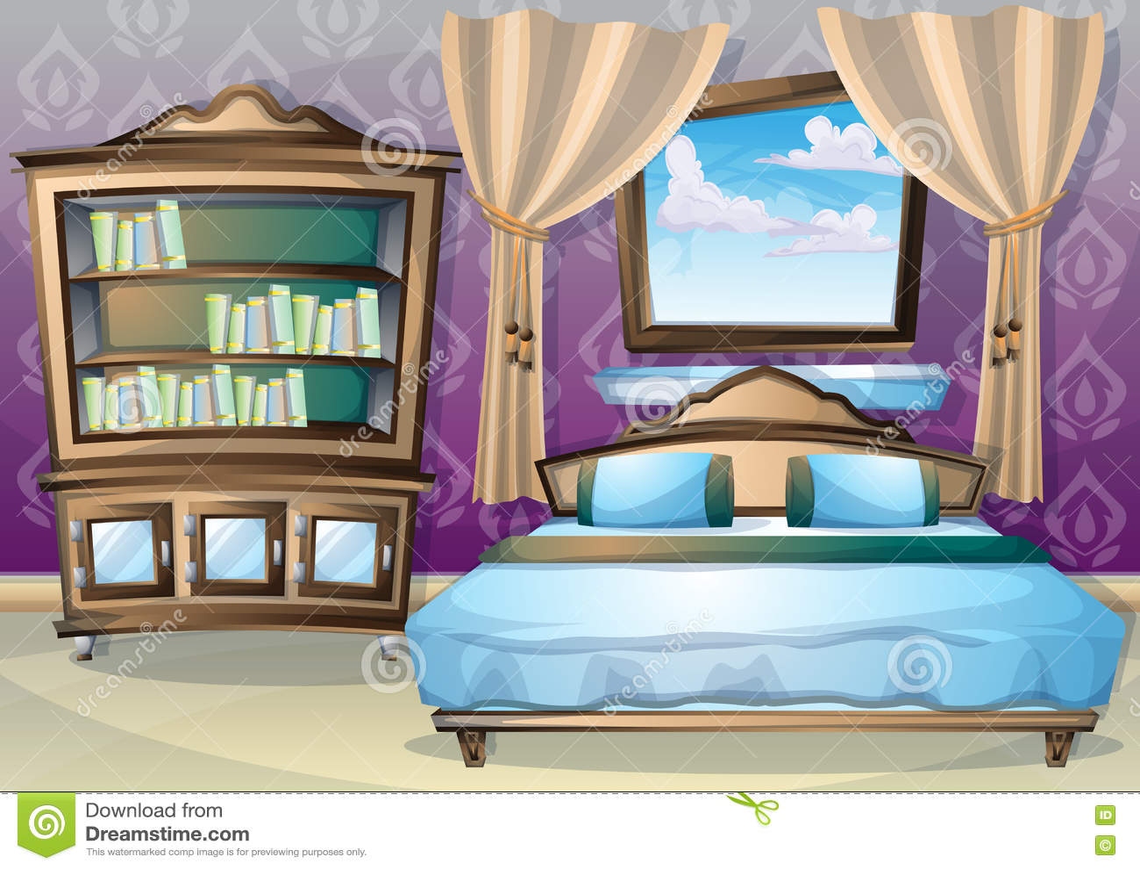 Cartoon Vector Illustration Interior Bedroom Stock Vector Image