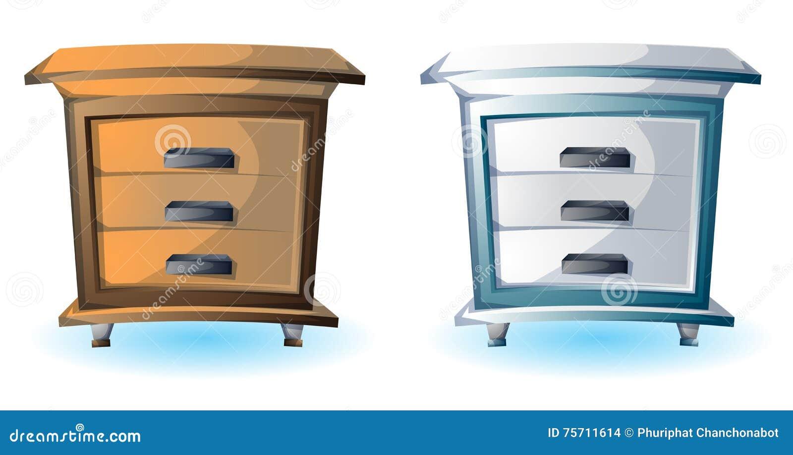 Cartoon Vector Illustration Interior Wood Cabinet Stock Vector ...