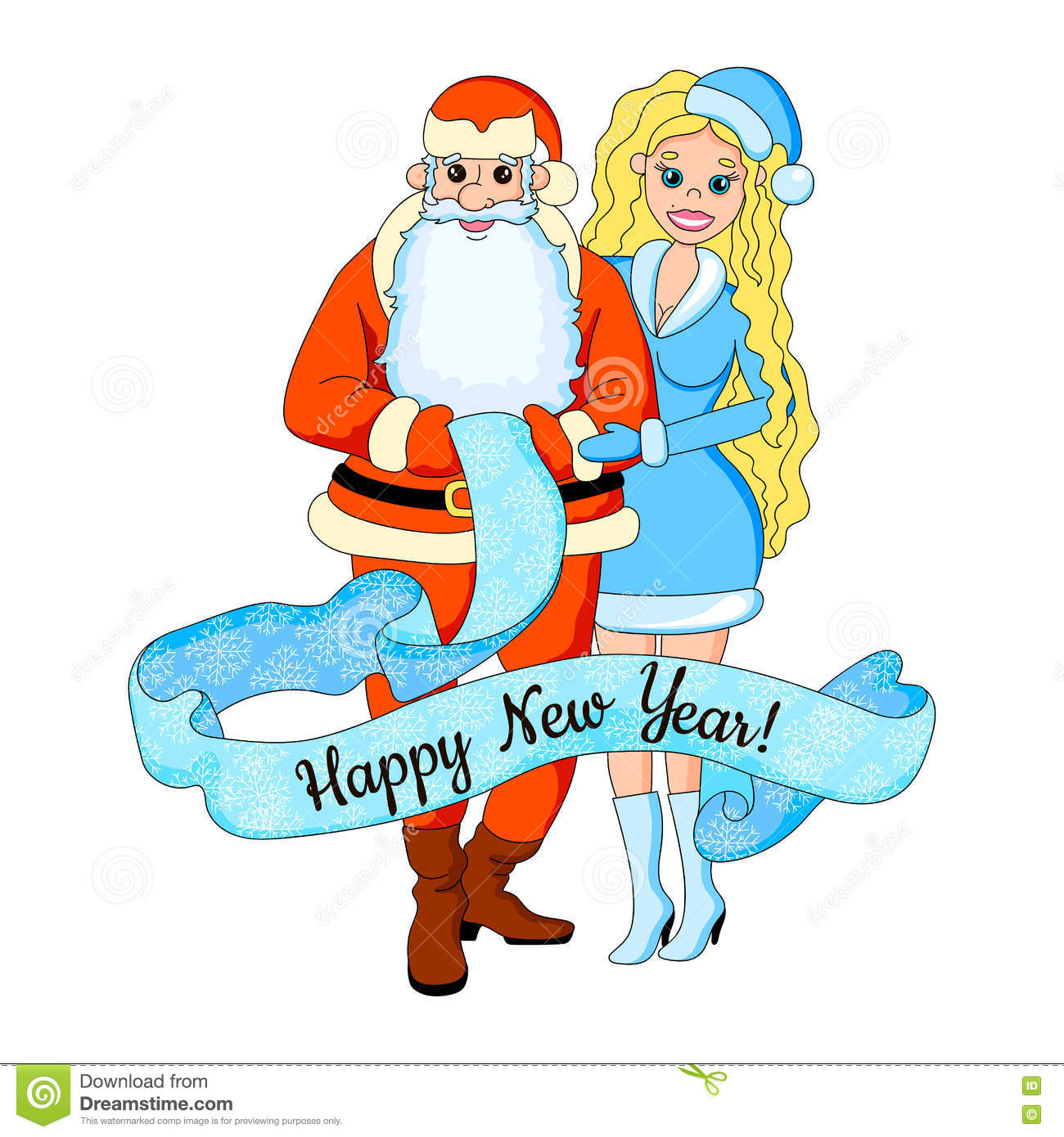cartoon vector illustration of girl blond with santa claus new year card isolated