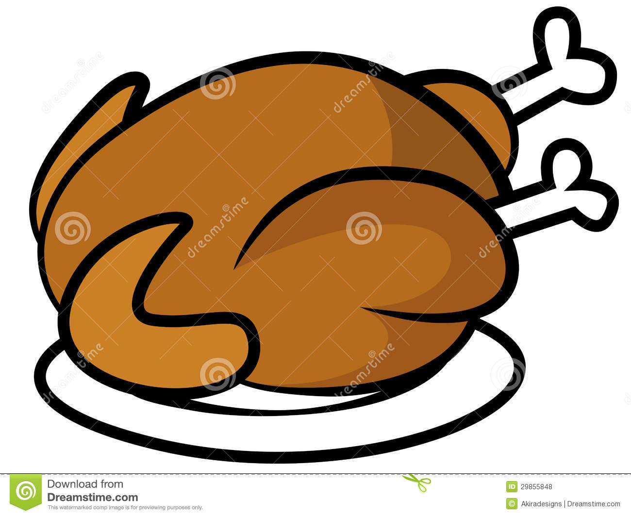 Chicken Or Turkey On Plate Royalty Free Stock Photos - Image: 29855848