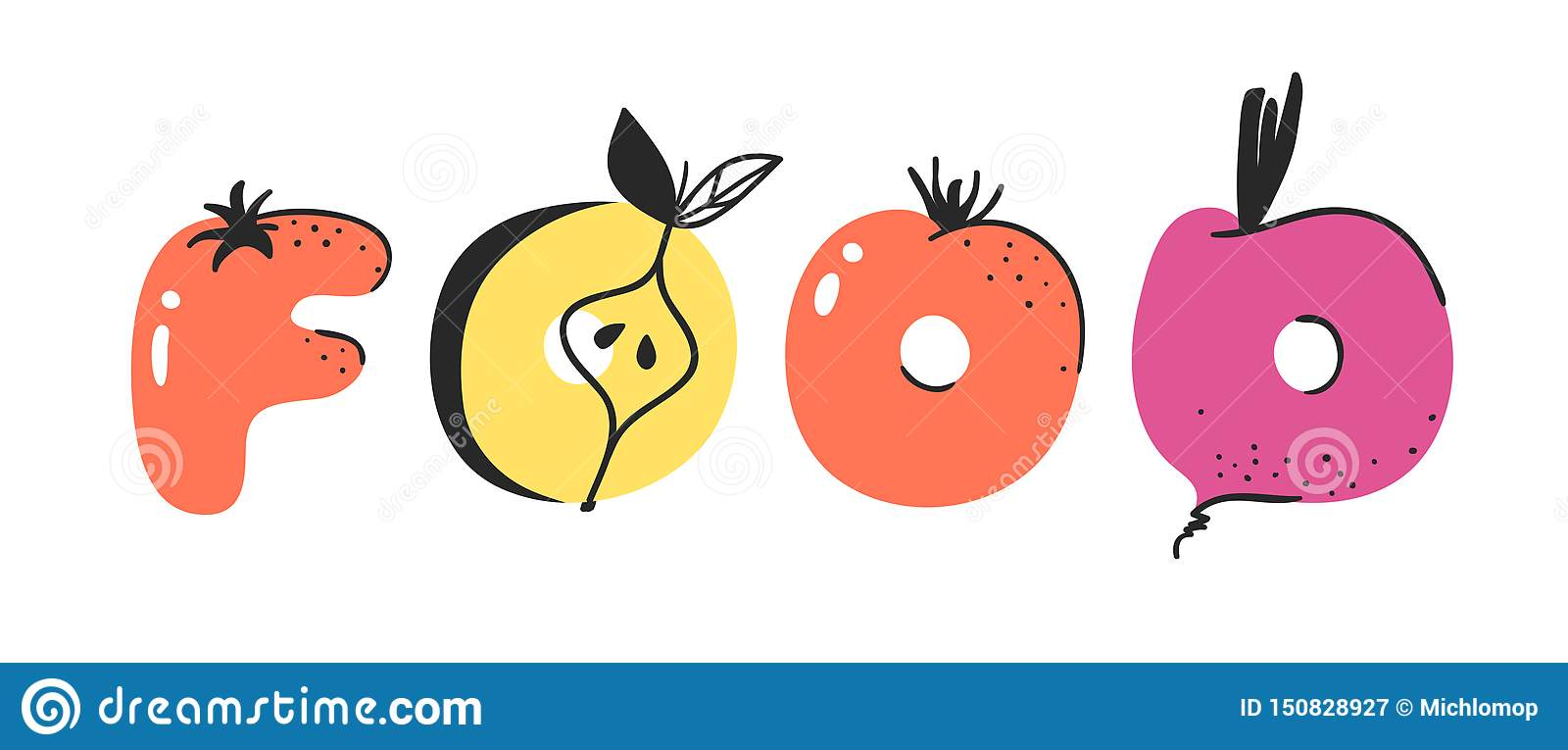 Cartoon Vector Illustration Vegetables And Fruits And Word