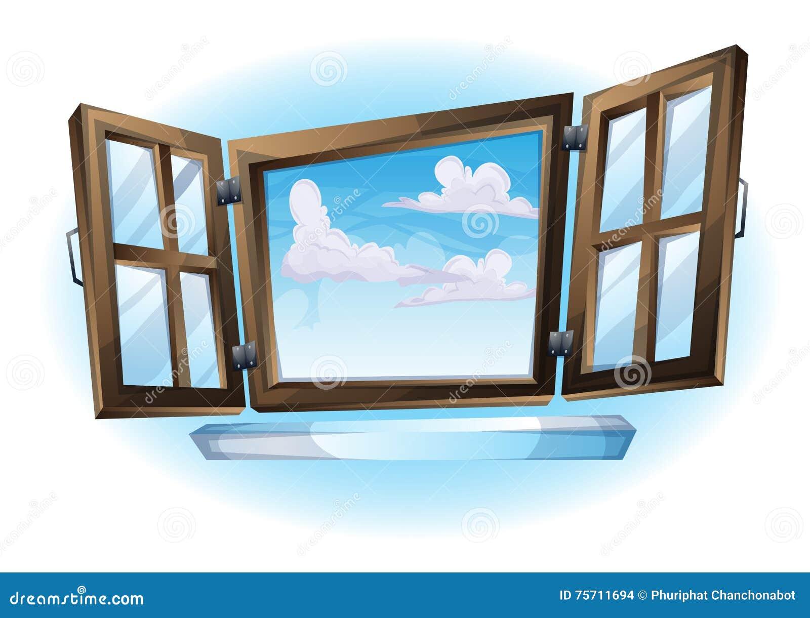 Cartoon Vector Illustration Window Open Landscape View Stock