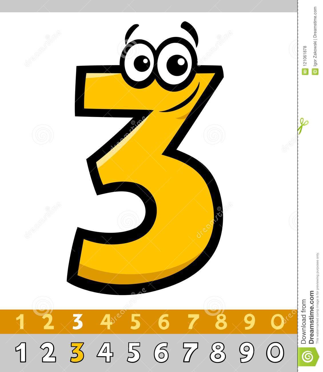 Number Three Vector Cartoon Character Stock Vector