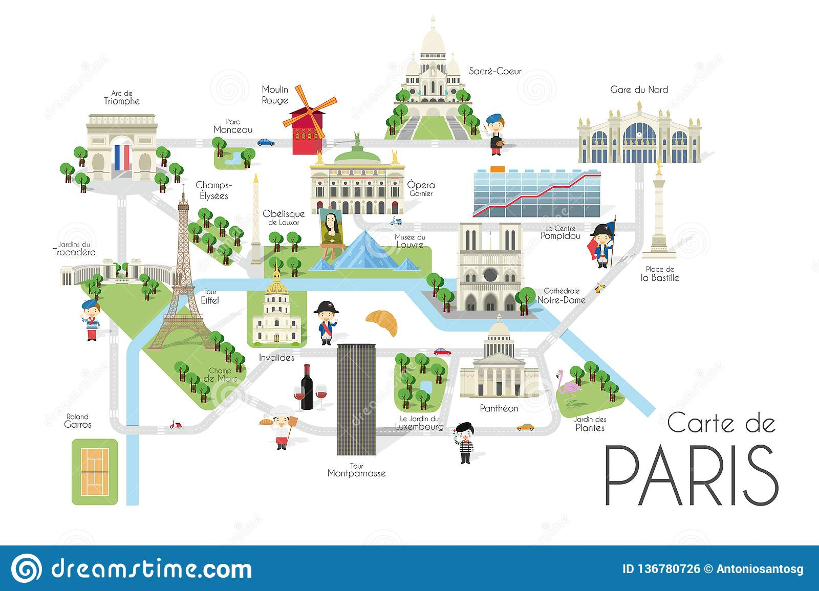 Cartoon Vector Map Of The City Of Paris, France. Travel ...