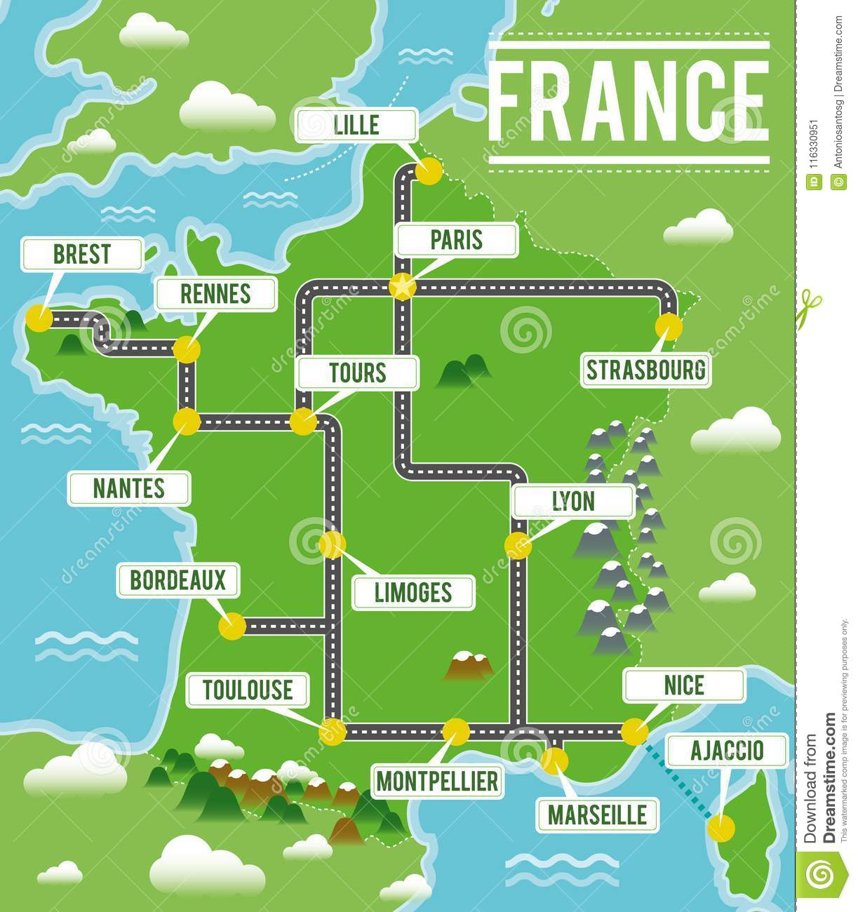 A Map Of France With Cities.Cartoon Vector Map Of France Travel Illustration With French Main