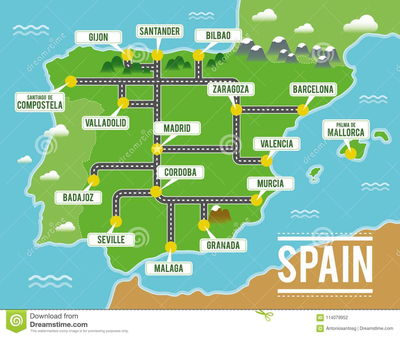 Bilbao On Map Of Spain.Cartoon Vector Map Of Spain Travel Illustration With Spanish Main