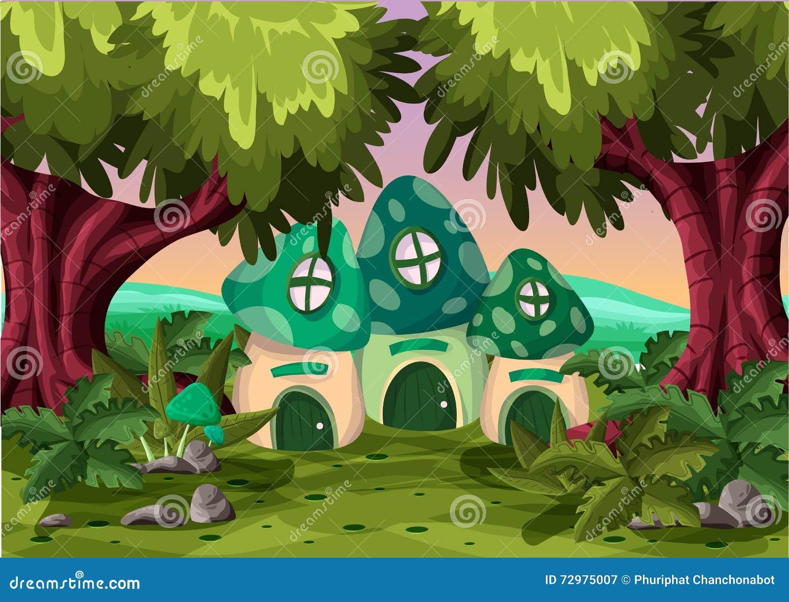 Cartoon Mushroom House On The Grass Forest Vector