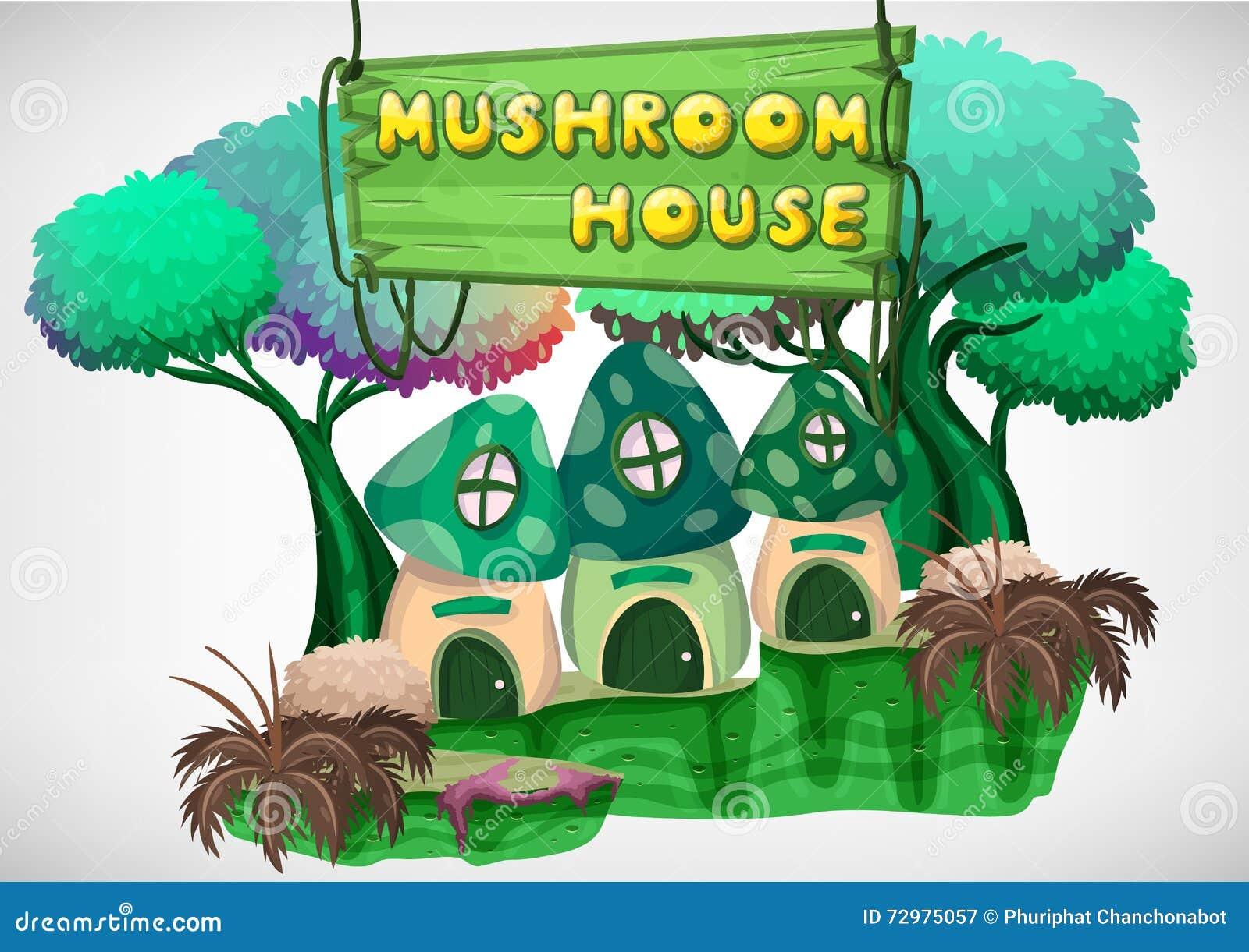 Cartoon Mushroom House Vector Illustration Cartoondealer
