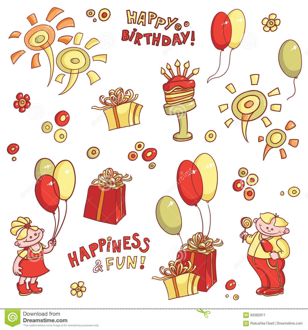 Cartoon Vector Set Of Objects For Postcards Birthday Greeting Happiness And Fun