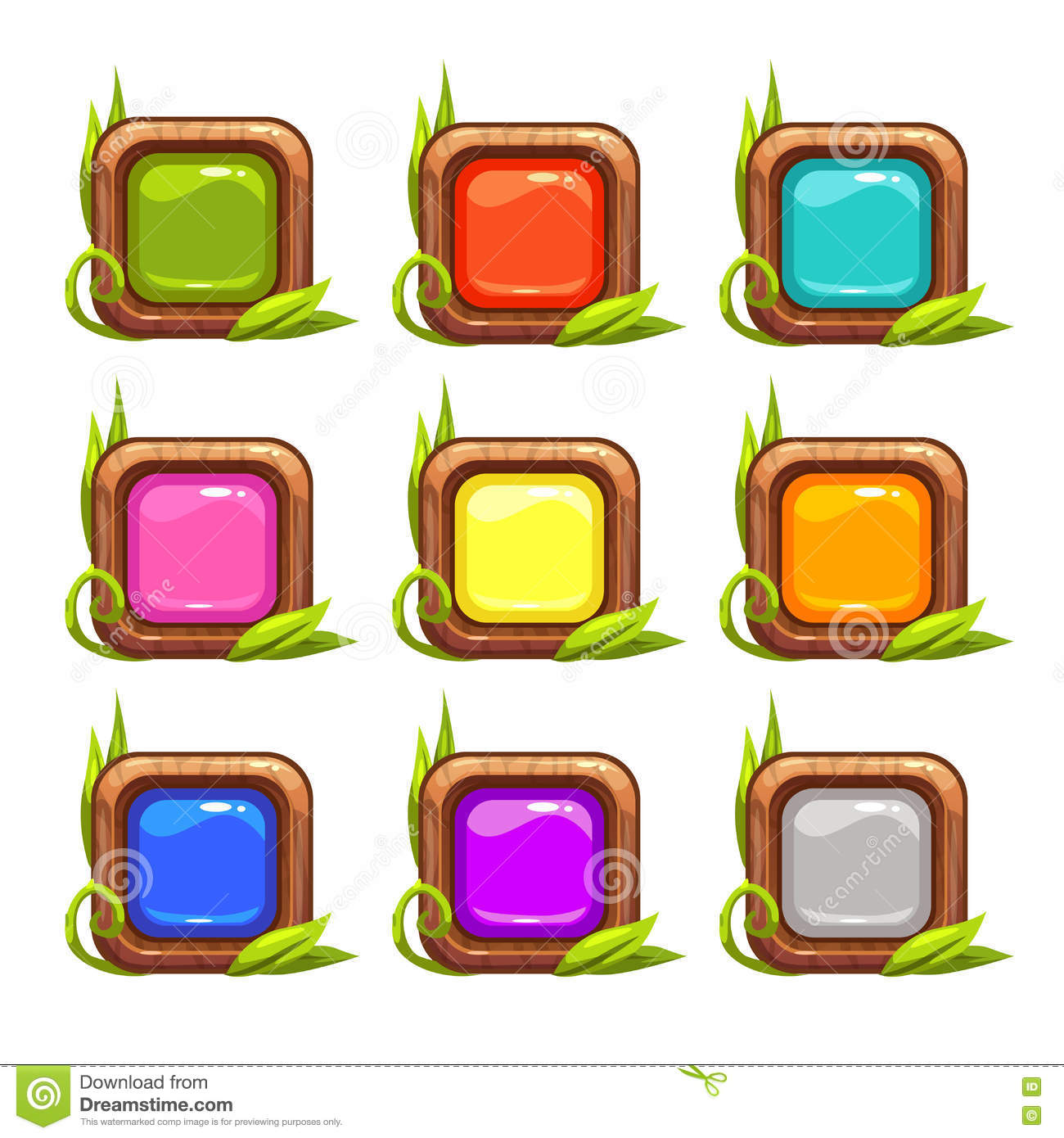 Cartoon vector square buttons set