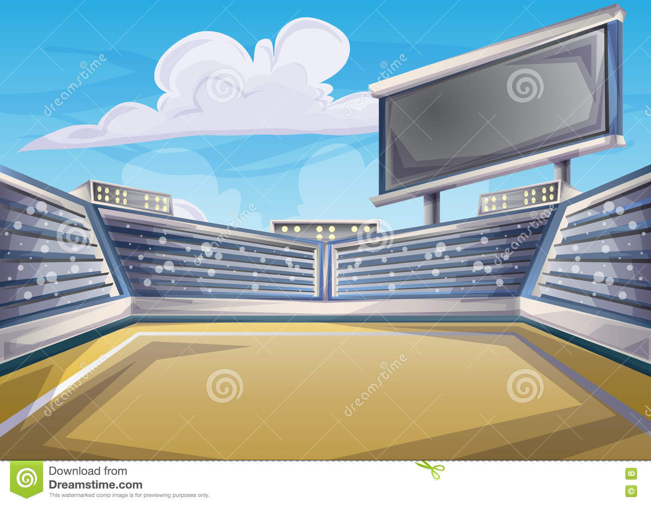 Cartoon Vector Stadium Background Score Board Empty Field Stock Vector Image 75018066