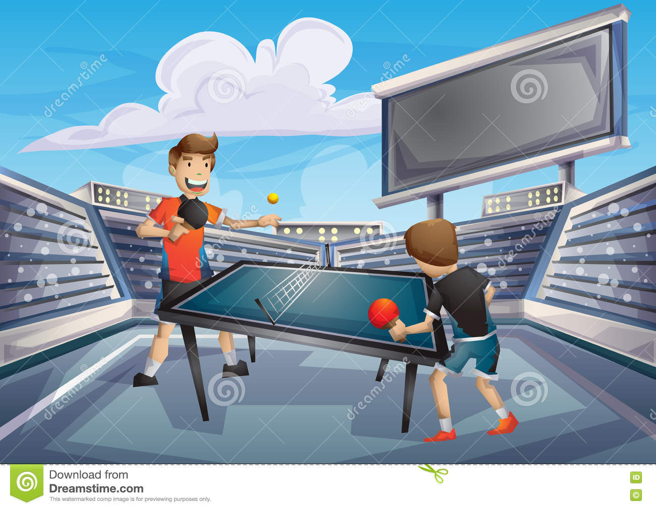 Cartoon Table Tennis Player Cartoon Vector