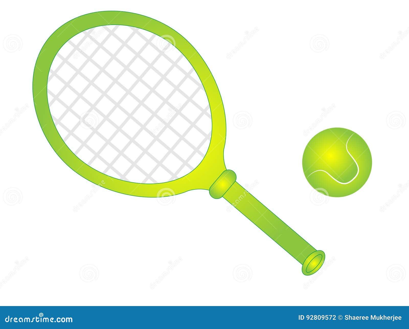 Cartoon Vector Tennis Racket With Tennis Ball Stock Vector