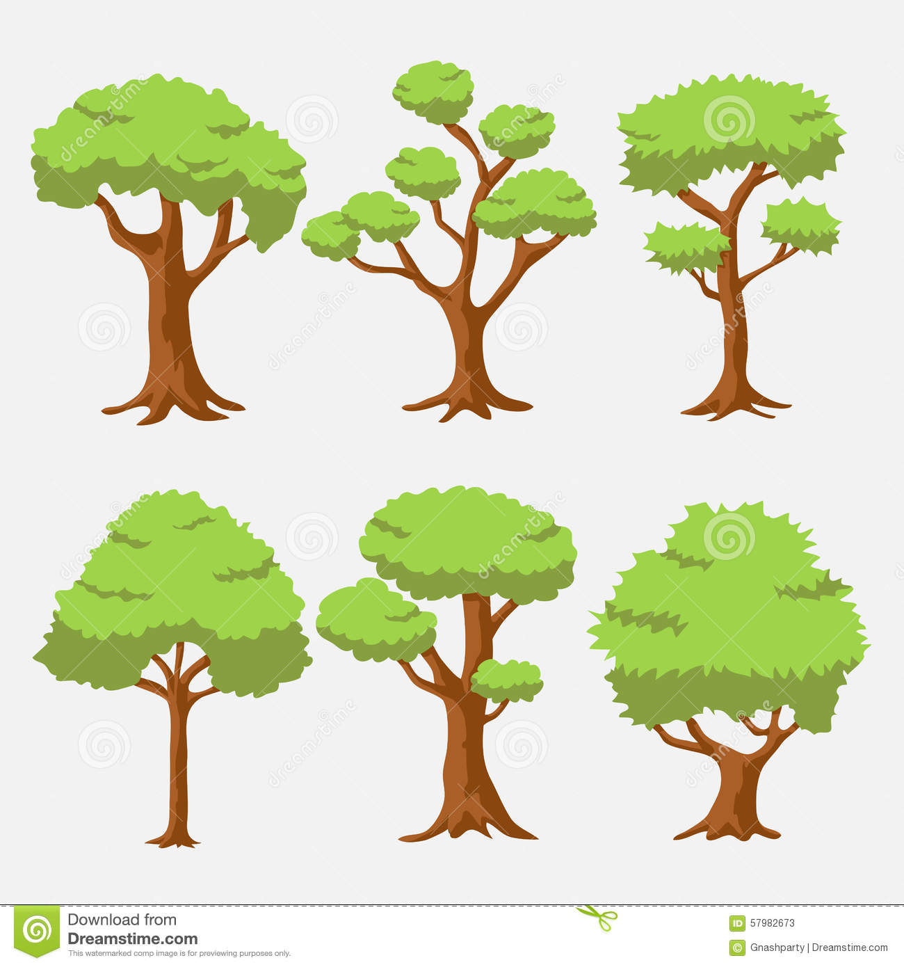 Cartoon Vector Tree With Bright Color Stock Vector - Illustration of ...
