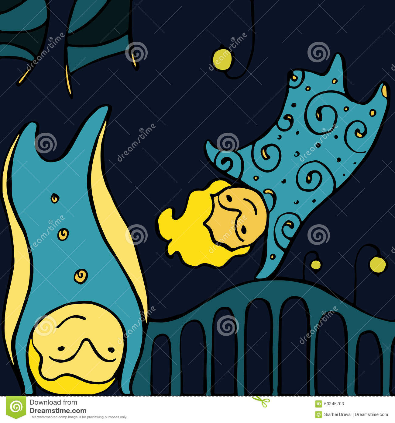 Cartoon Vector Wallpaper With Fairies Flying Hand Drawn