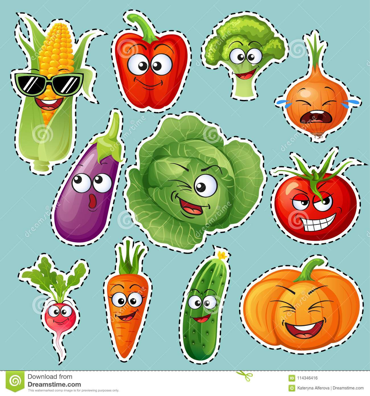 Cartoon vegetable characters. Vegetable emoticons. Sticker. Cucumber, tomato, broccoli, eggplant, cabbage, peppers, carrots, onion