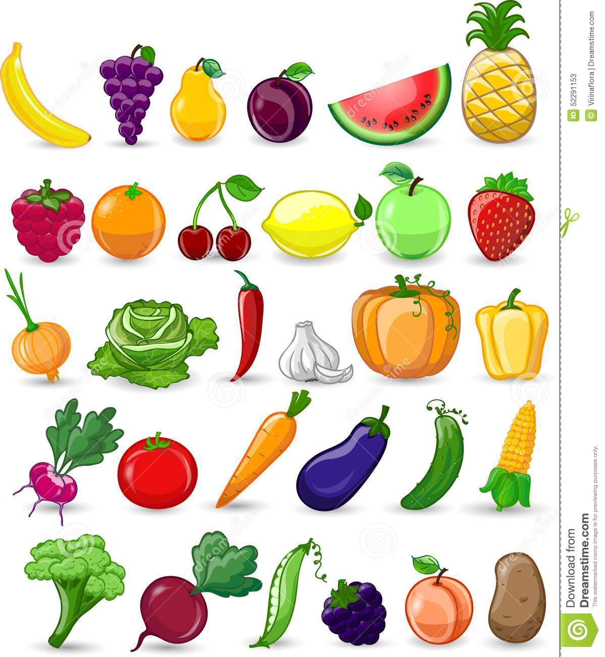 Cartoon Vegetables And Fruitsvector Stock Vector Image