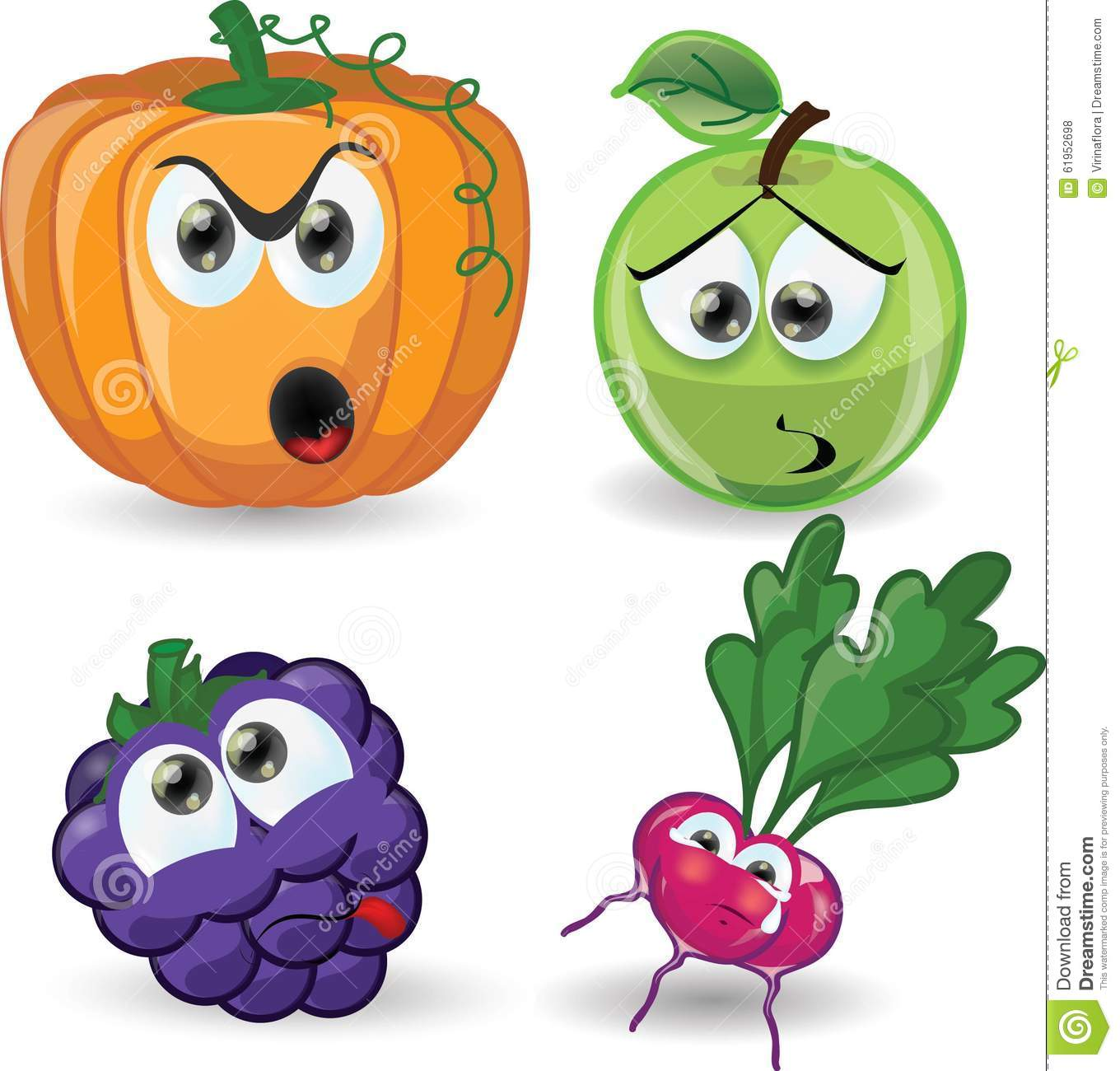 Cartoon vegetables and fruits vector stock image