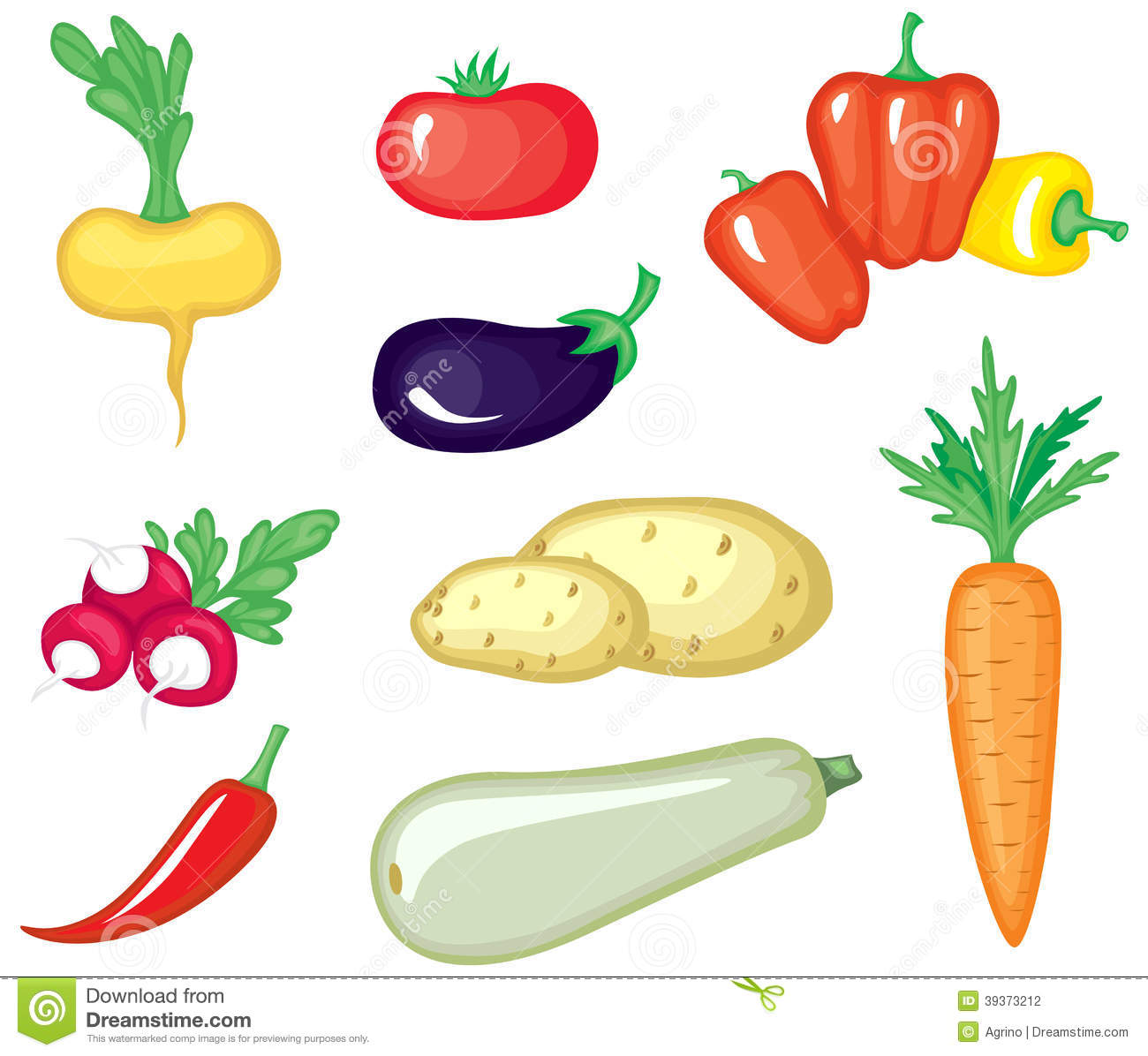 Cartoon Vegetables Set Stock Vector - Image: 39373212