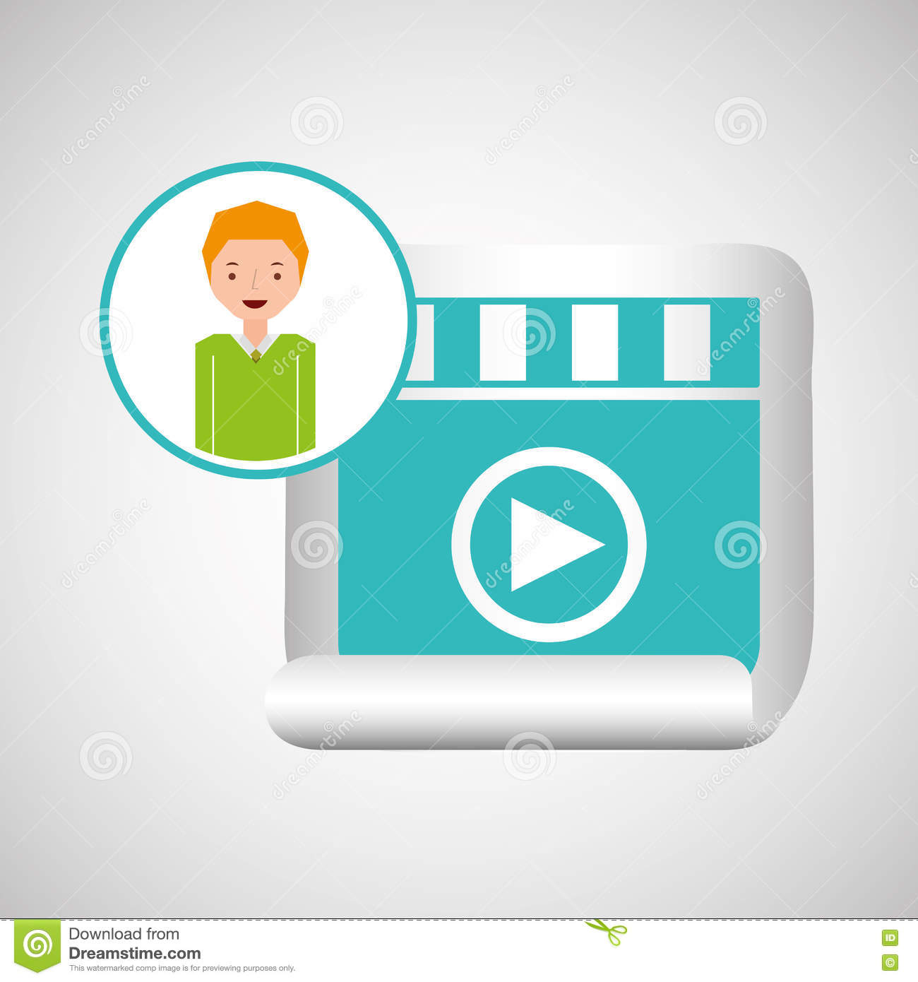Download Cartoon Video Player Guy Design Stock Vector