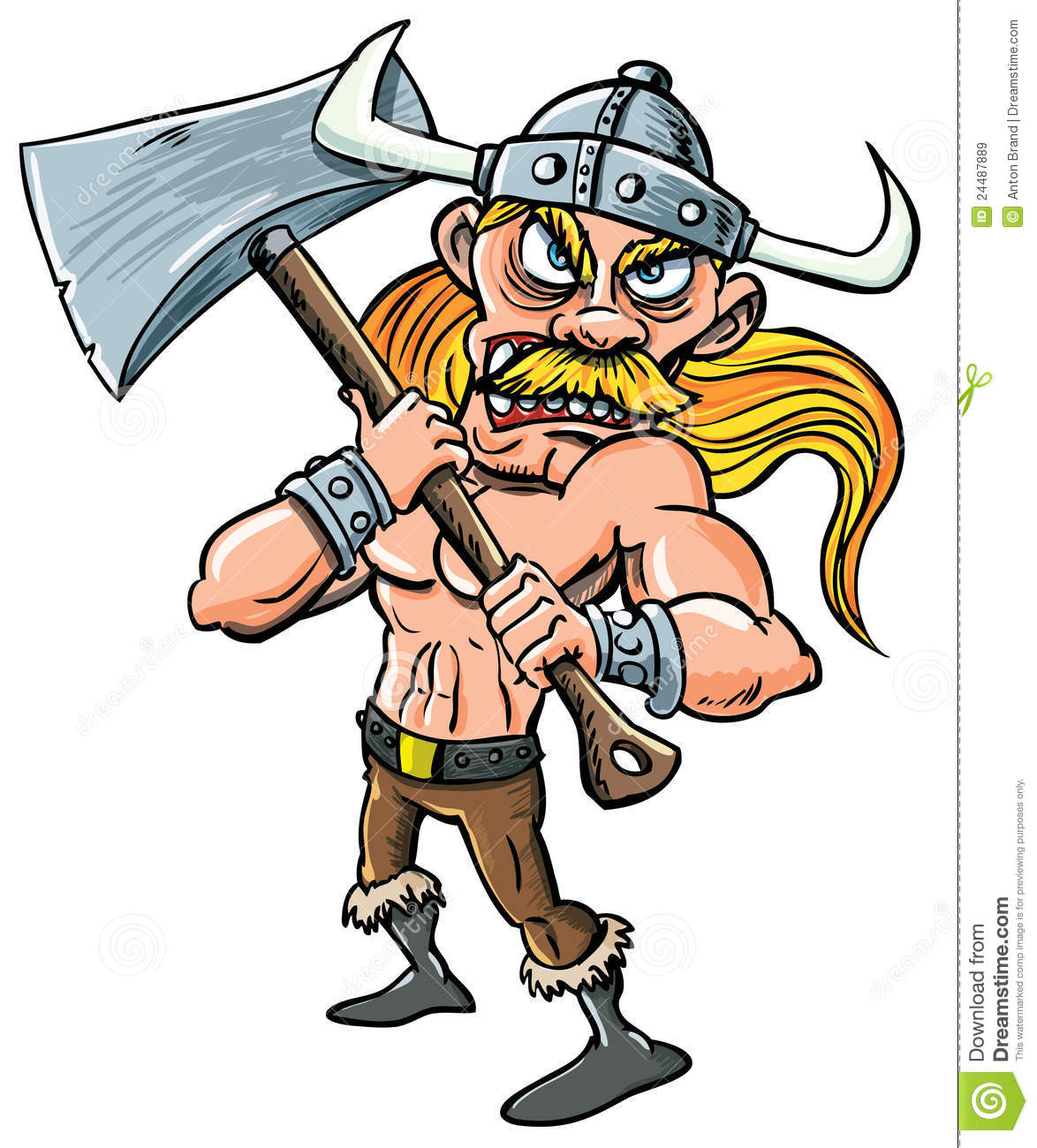 cartoon viking with huge axe royalty free stock images image