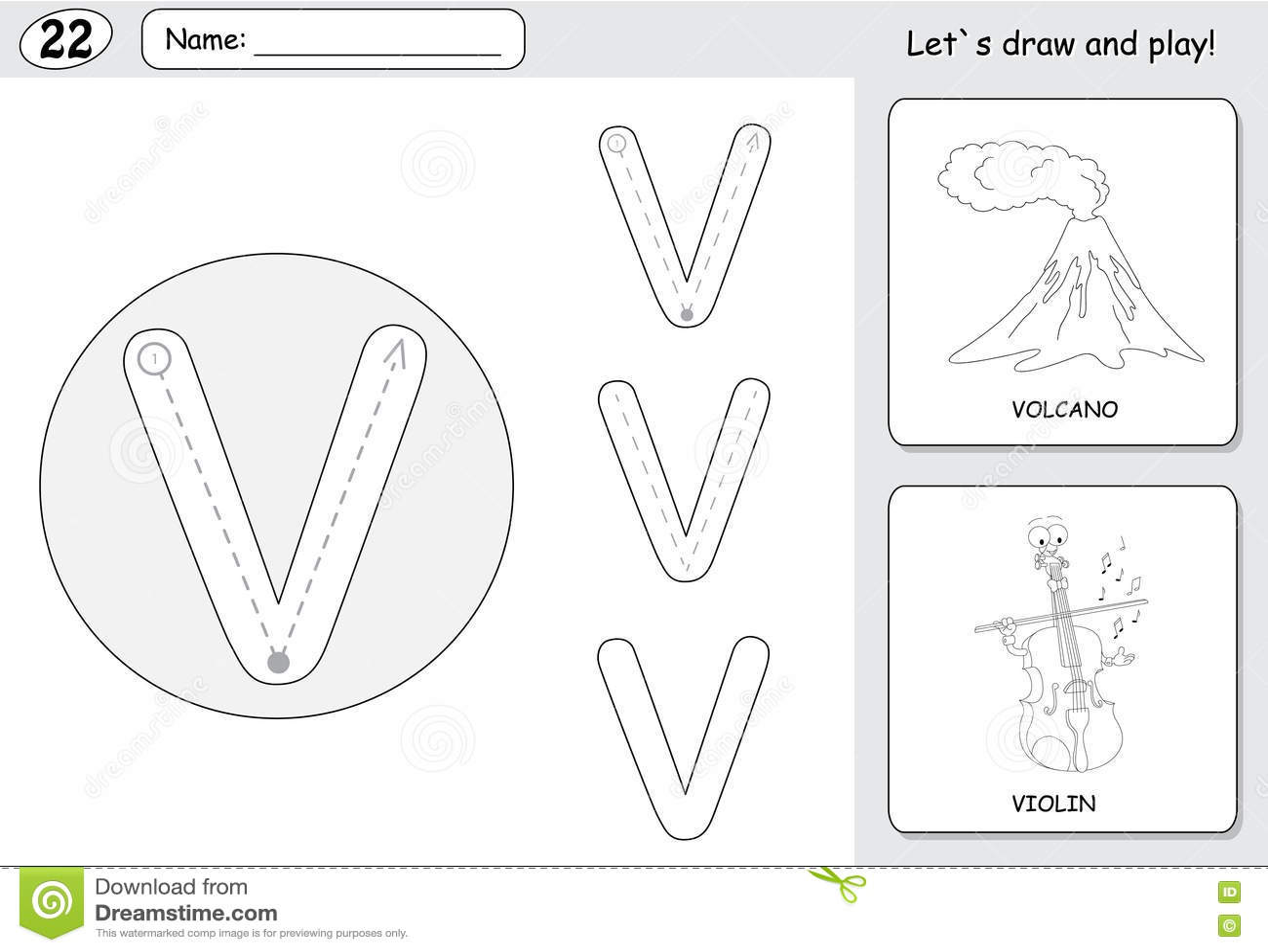 Cartoon Volcano And Violin. Alphabet Tracing Worksheet ...