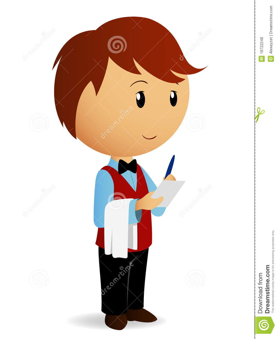 Vector illustration. Cartoon waiter with towel on his hand take an ...