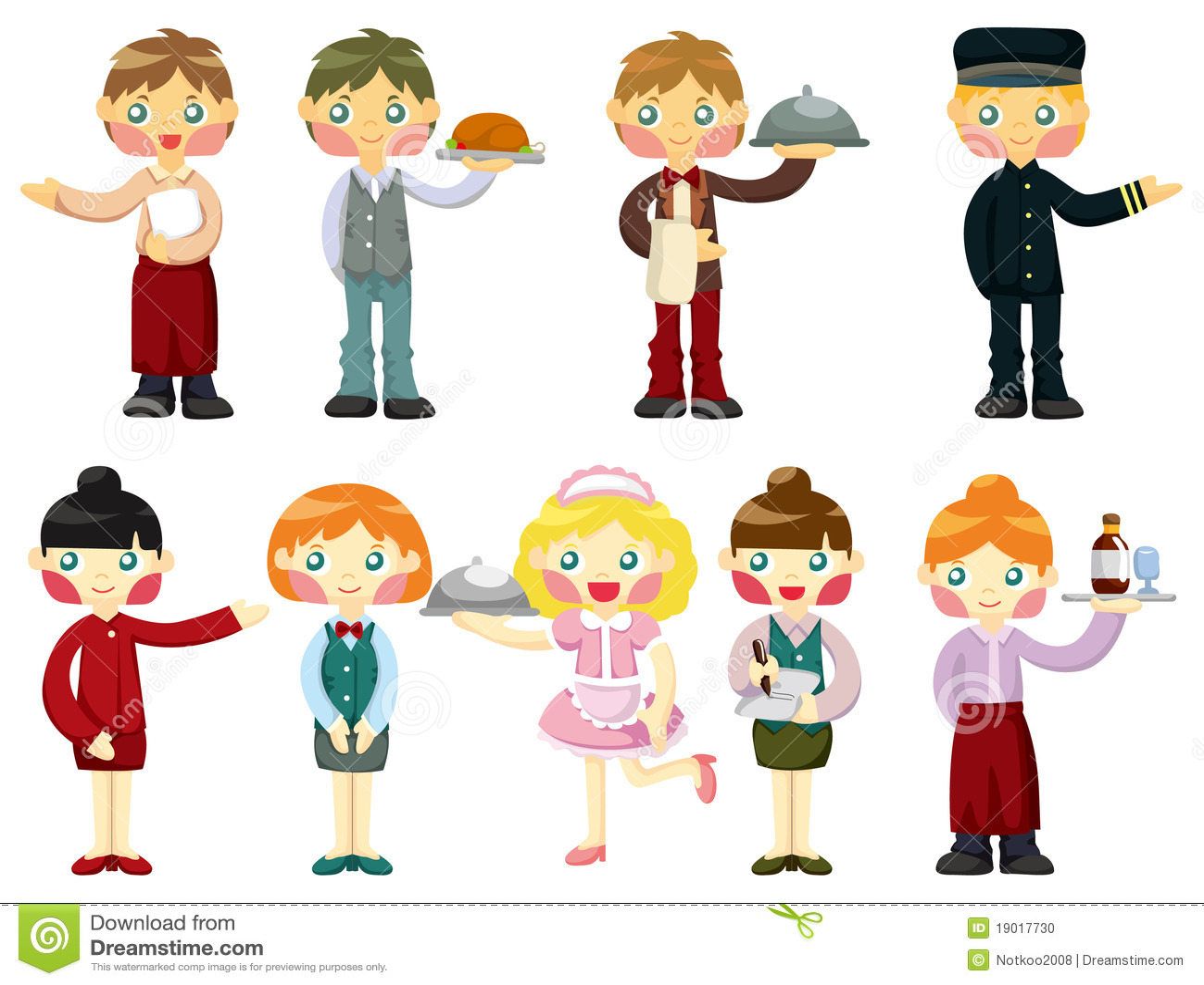 Cartoon waiter and waitress  Waiters And Waitresses Clipart