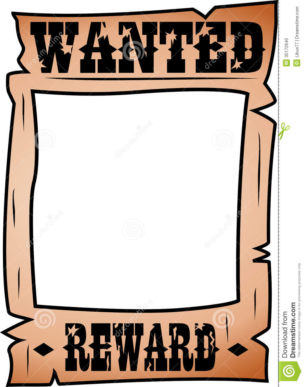 Blank Wanted Template Cartoon Wanted Poster Whitespace Rectangular Face  Isolated White Background Eps File Available 35172640