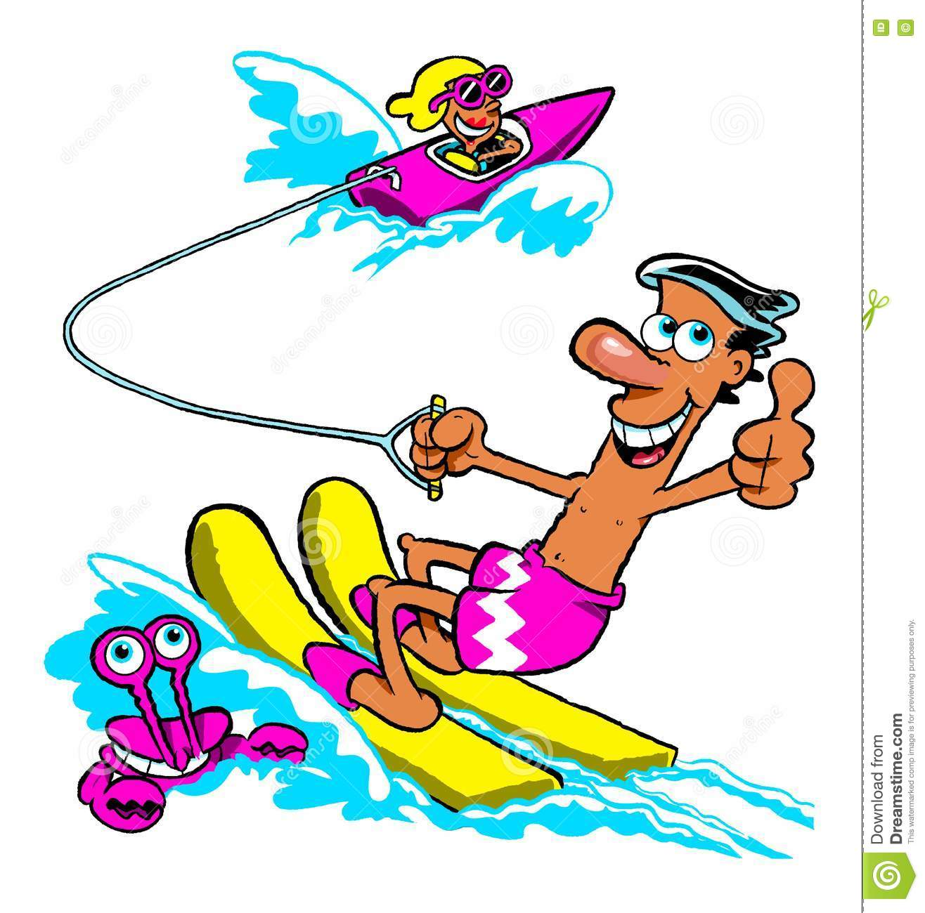 Water skiing boat clipart
