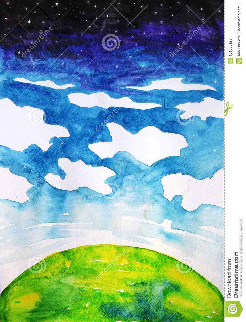 Watercolor Cartoon Drawing Of The Planet Clouds And Space Stock
