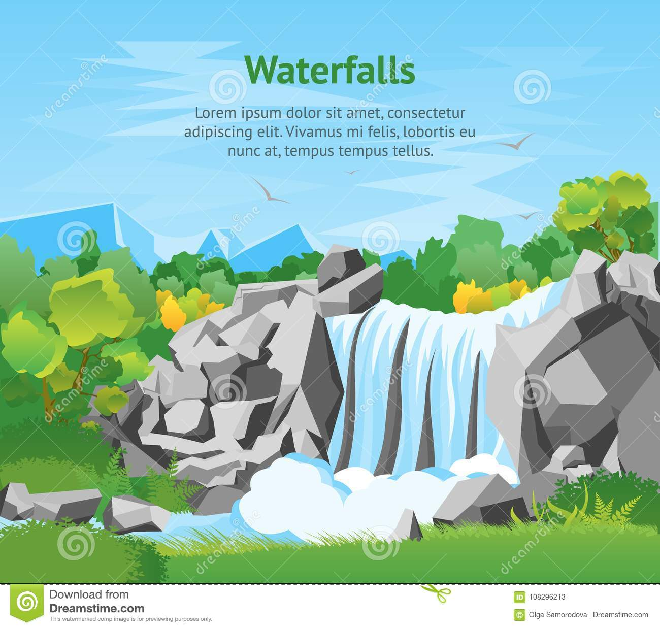 Cartoon Waterfall Landscape Background Card Poster. Vector