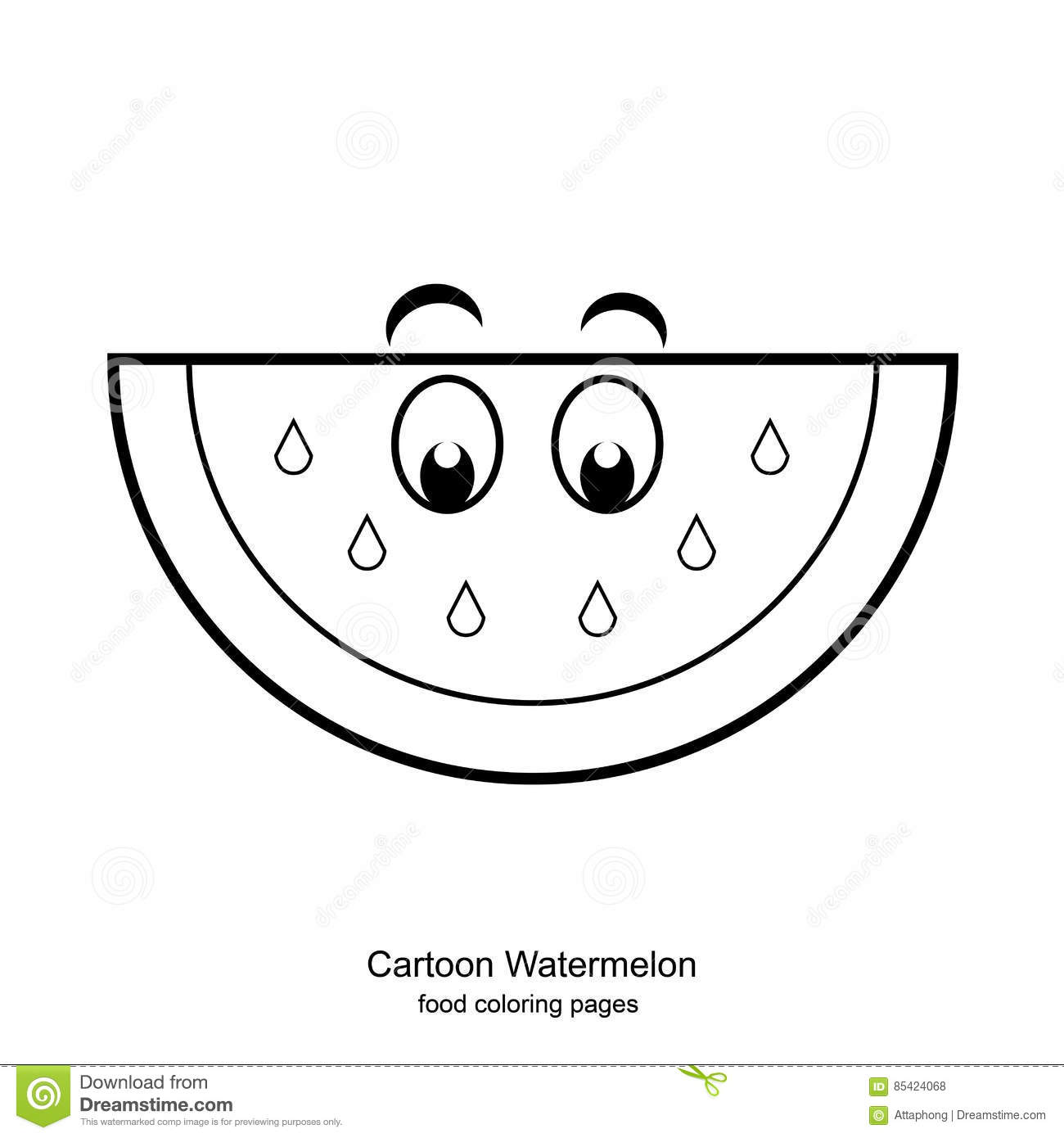 Cartoon Watermelon Coloring Pages Vector Stock Vector - Illustration ...