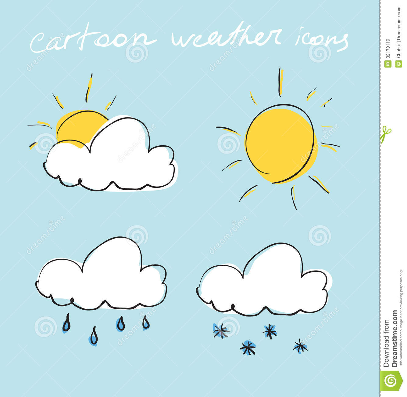 cartoon weather icons set hand drawing sketch vector illustration 32179119