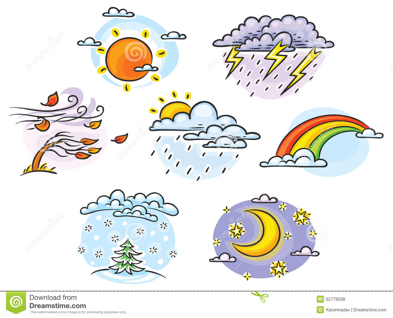 ... weather illustrations, hand drawn, colorful, no gradientseather set